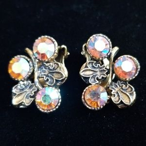 Vintage Estate Austrian Crystal Clip Earrings